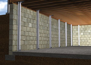 Graphic render of an installed i-beam system home.