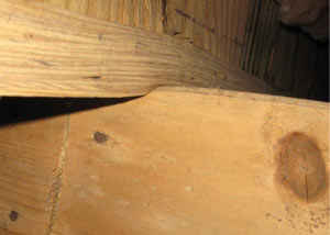 A failing girder showing signs of compression damage in a Mississippi home