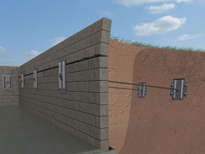 A graphic illustration of a foundation wall system installed in Laurel