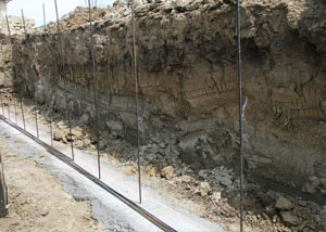 Soil layers exposed while excavating to construct a new foundation in Philadelphia