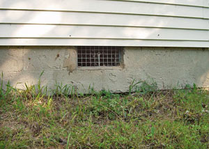 Open crawl space vents that let rodents, termites, and other pests in a home in Yazoo City