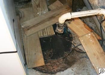 An ugly, clogged sump pump system in Clinton, Mississippi