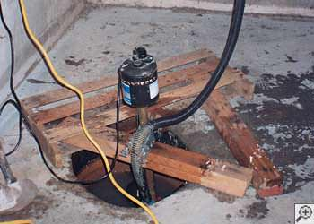 A Lafayette sump pump system that failed and lead to a crawl space flood.